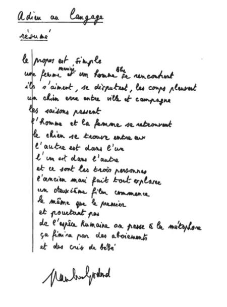 Adieu au langage - rèsumé - Jean-Luc Godard
